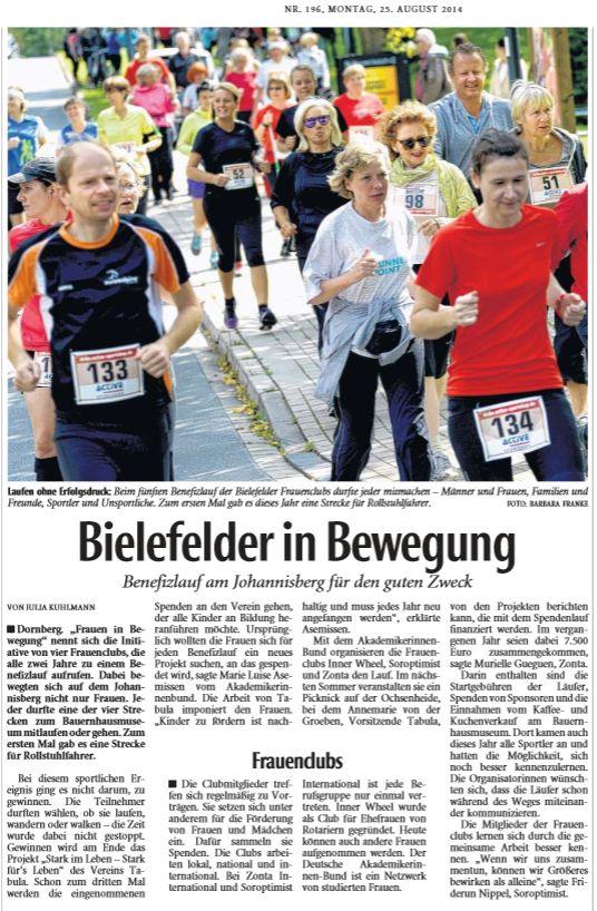 Neue Westfälische Bielefeld, 25.08.2014, von Julia Kuhlmann